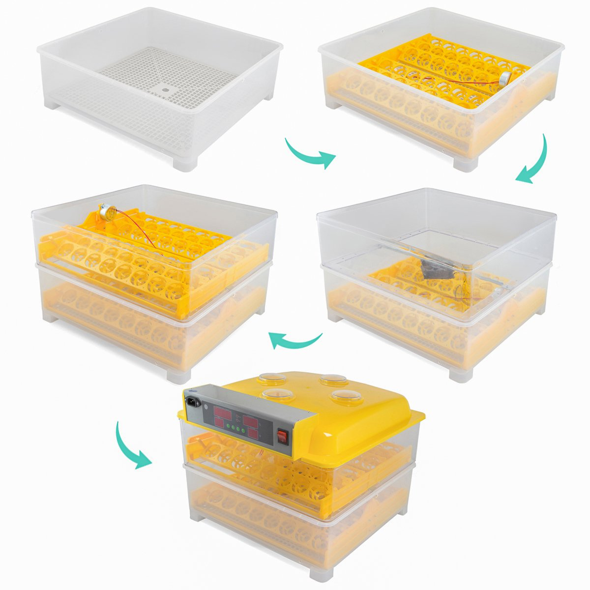 XtremepowerUS Egg Incubator 96 Eggs 2 Layer Digital Control Panel Poultry Hatcher Auto Egg Turner