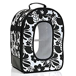 A&E CAGE COMPANY 001376 Happy beaks Soft Sided Travel Bird Carrier Black, 14.5X10.5X7 in