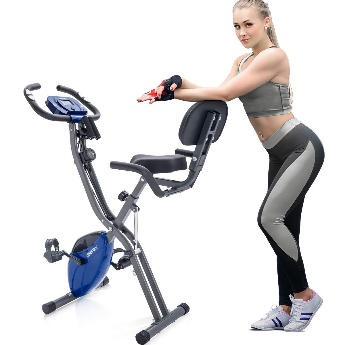 Merax Folding 3 in 1 Adjustable Exercise Bike Convertible Magnetic Upright Recumbent Bike with Arm Bands (Gray+Blue)
