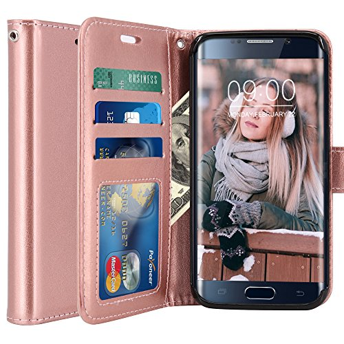 Galaxy S6 Edge Case, LK Luxury PU Leather Wallet Flip Protective Case Cover with Card Slots and Stand for Samsung Galaxy S6 Edge (Rose Gold)