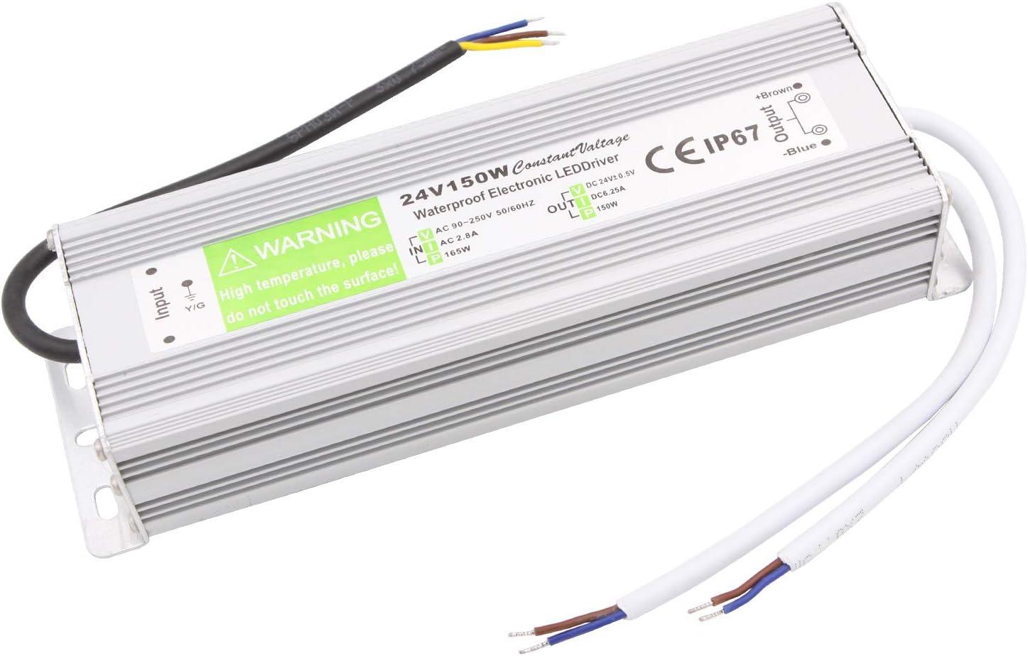 NCL Controlador de Exterior Resistente al Agua 24V 6.25A Transformador decontrolador LED de 150W AC 100-240V a CC 24V Transformador IP67Resistente al Agua para Productos de Interior y Exterior de 24V