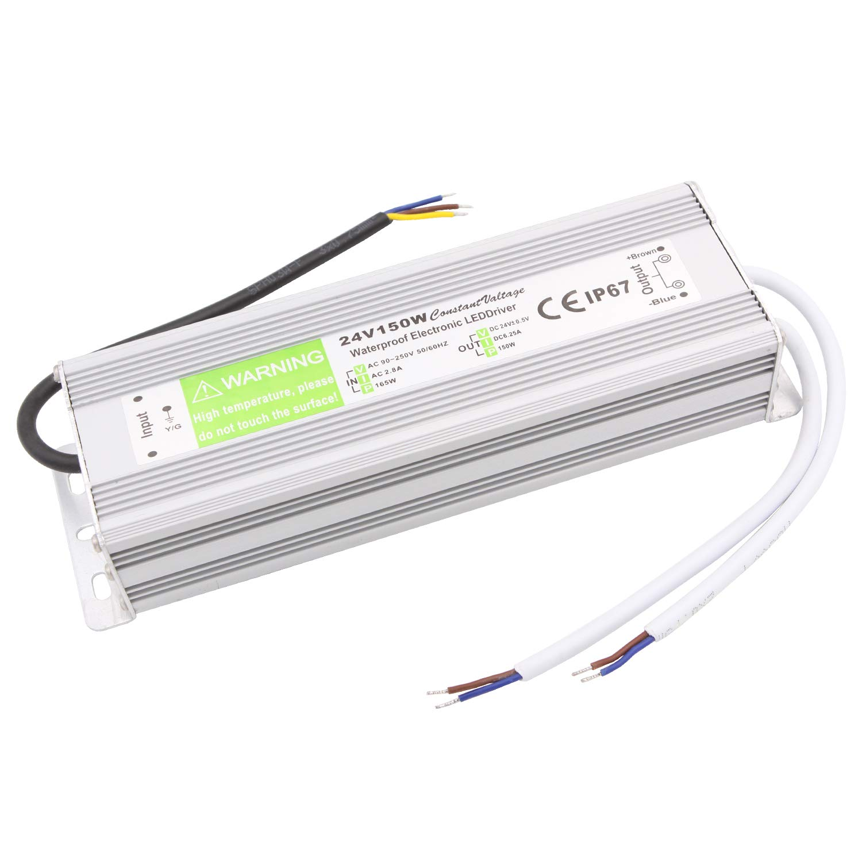 Driver LED 24V 1.5A/2.5A/5A/6.25A/8.33A Impermeable IP67 AC 90-250V a DC 24V Alimentador para cualquier LED por debajo de 24V, Computadora, Ingeniería, Iluminación Exterior., 24V 6.25A