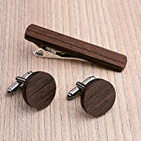 Free Shipping: Round Wood Cufflinks and Tie Clip Set. Black Wenge wood. Custom personalized initial monogram men gift. Engraved jewelry for men. Wedding groomsmen groom gifts. Exclusive Boss gift