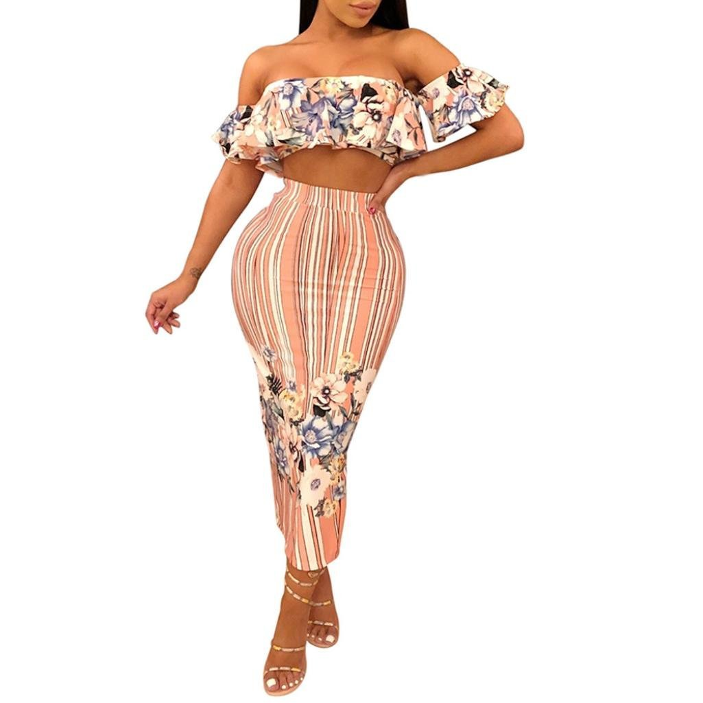 Minisoya Women Floral Strapless Ruffle Bandeau Crop Tops Striped Bodycon Maxi Skirt Cocktail Party Club Two Piece Set (Pink, XX-Large)