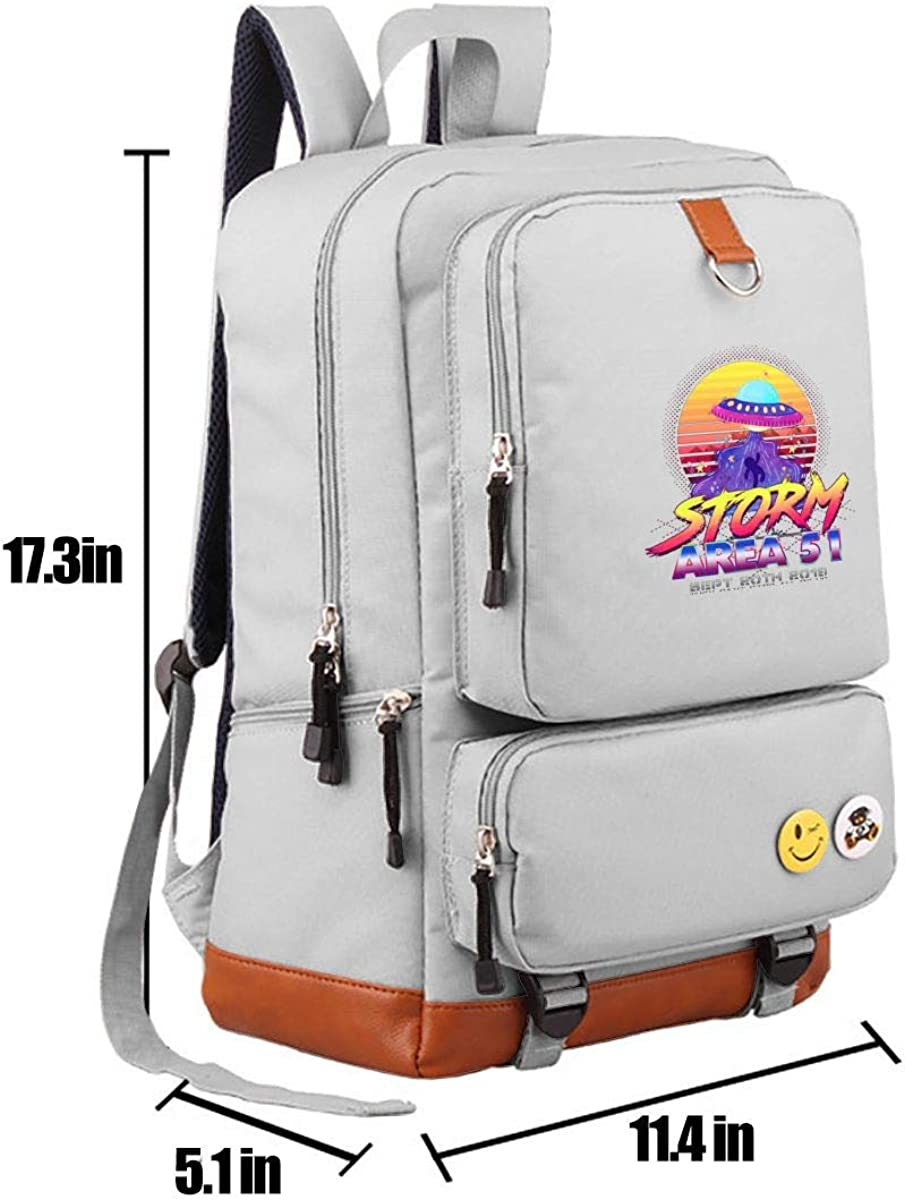 Casual Backpacks Size 11L*5W*17H Inch Men And Women 1st Annual Area 51 Fun Run Sept 20 2019 Backpacks