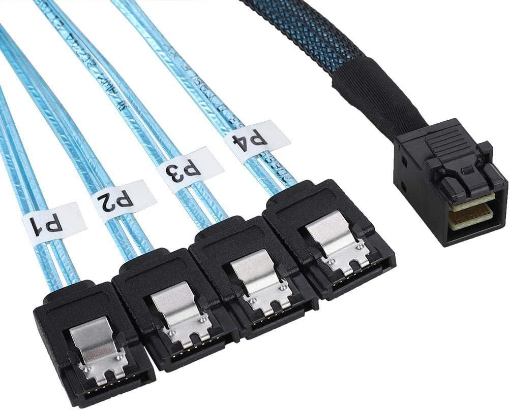 Diyeeni Cable Mini SAS a SATA Interno 4 SATA se conectan al Disco Duro Cable Mini SAS HD SFF-8643 de 3,28 pies para Controlador SFF-8643 a 4 SATA de 7 Pines