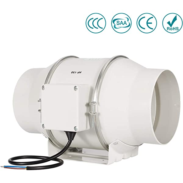 150mm Silent In Line Twin Ventilation Fan Commercial Grow Extractor Controller