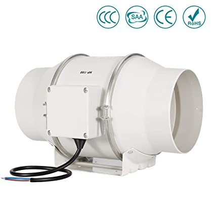 HG POWER 6inch Mixed Flow Inline Duct Fan HF-P Series Booster Exhaust  Extractor Inline Ducting Fans for House or Grow Tent