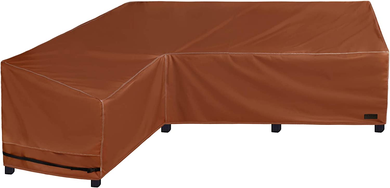 NettyPro Waterproof Patio Sectional Sofa Cover 600D Heavy Duty Waterproof Patio Lawn Furniture L-Shaped Lounge Set Couch Cover, 83 x 104 Inch, Left Facing