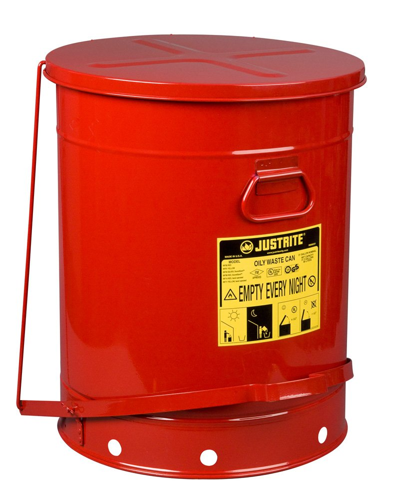 Justrite SoundGuard 09708 Steel Oily Waste Can with Foot Operated Cover, 21 Gallon Capacity, Red