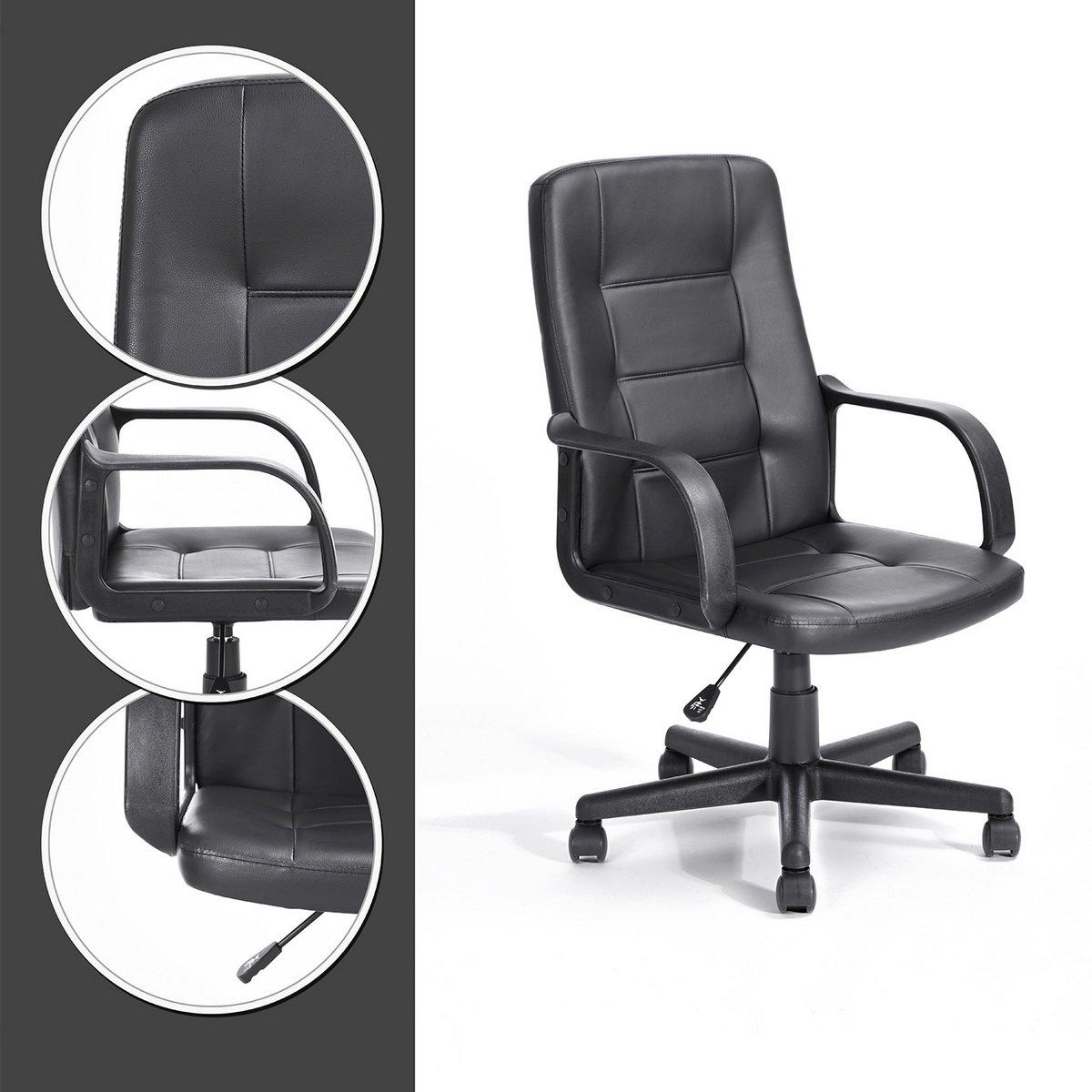 Navy Blau Furniture n.b.f Sessel Bürostuhl, Computer aus PU Leder mit 5 Rollen Drehbar Komfortabel, Verstellbar - Haut dossier