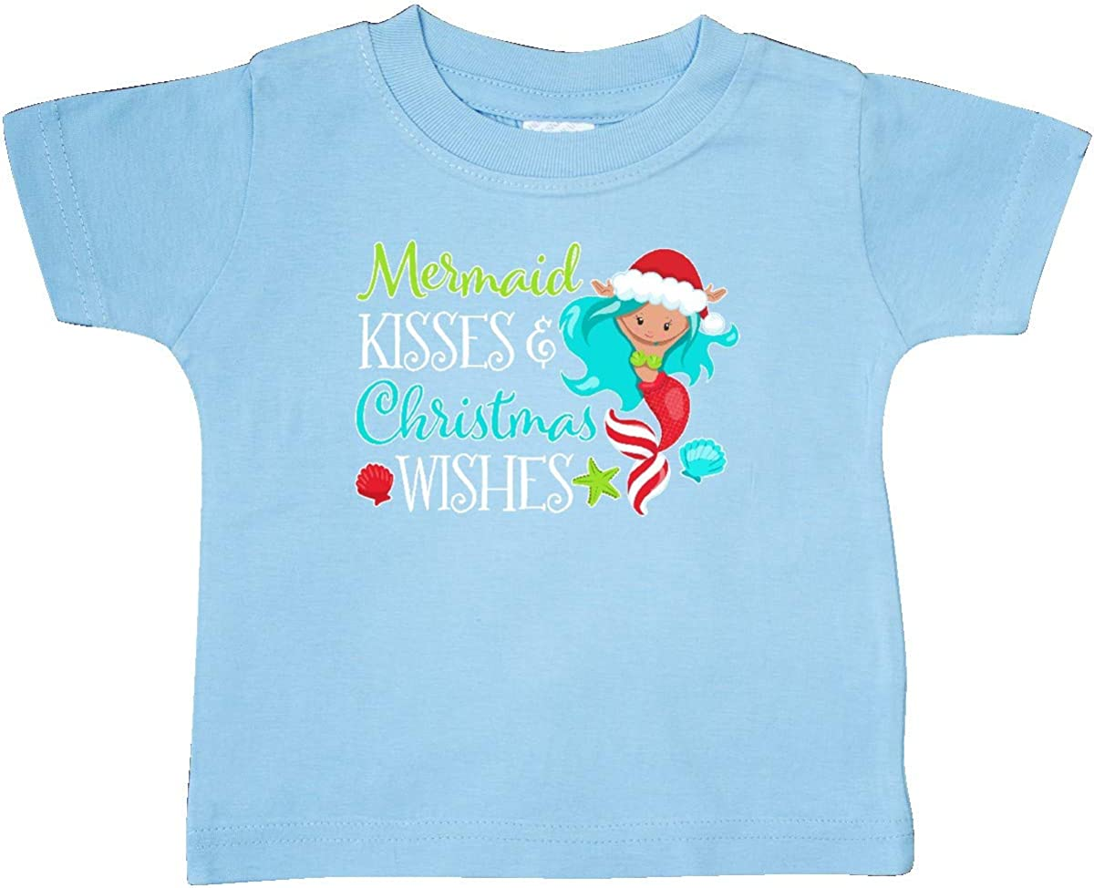 inktastic Mermaid Kisses and Christmas Wishes with Seashells Baby T-Shirt