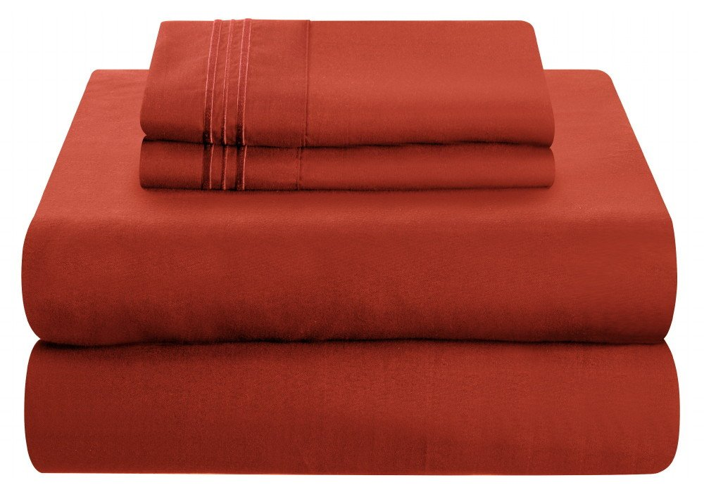 Mezzati ラグジュアリーベッドシーツセット – ソフトで快適な1800 プレステージコレクション – 起毛マイクロファイバー寝具 ツイン 784672220088 B00K0PFWNK ツイン Orange Rust Orange Rust ツイン