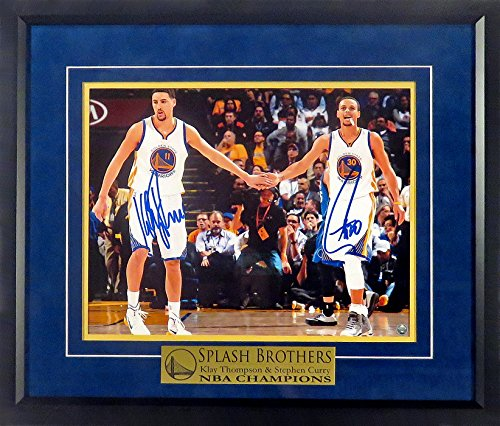 14 Deluxe Framed Collectible - GS Warriors Stephen Curry & Klay Thompson Autographed Horizontal 11x14 Photograph w/