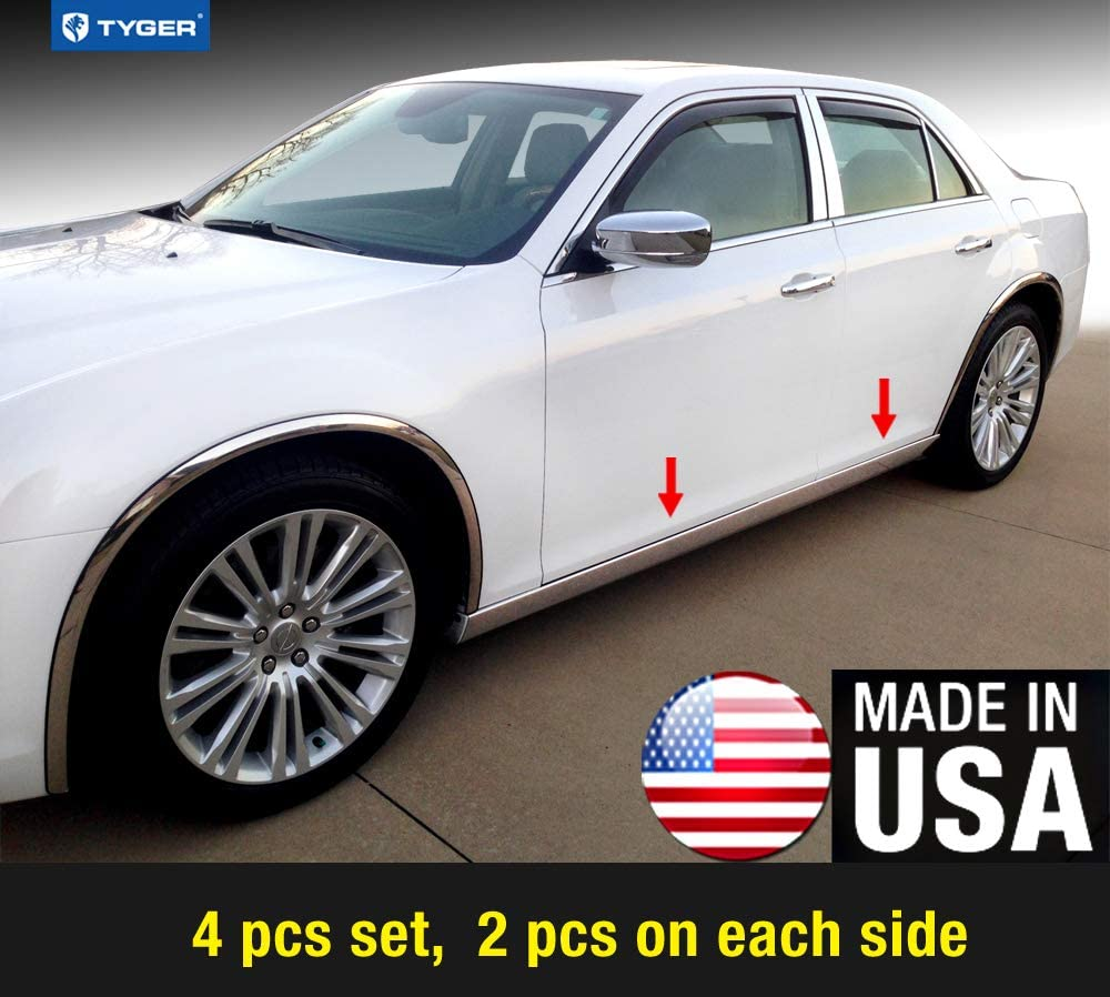 Made in USA Works with 2011-2017 Chrysler 300 300C Extreme Lower Rocker Panel Molding Trim 4 4PC