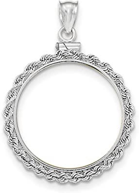 Roy Rose Jewelry 14K Yellow Gold Diamond-Cut Prong 1//10 American Eagle Coin Bezel Pendant