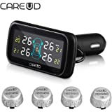 Careud U903 Wireless Auto Car Vehicle TPMS Tire Pressure Monitoring System with LCD Display 4 External Sensors Cigarette Lighter Plug Diagnostic Alarm Temperature Battery Power Monitor