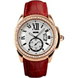 Reloj De Mujer Women Casual Quartz Wristwatch Relogio Feminino RE0030 (Red)