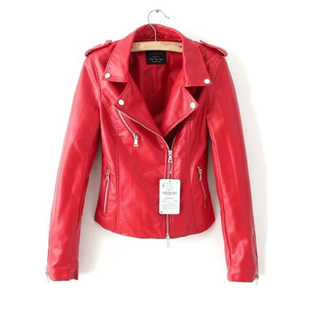 LJYH Womens Fashionable Zip-up Faux Leather Hoodie Jacket