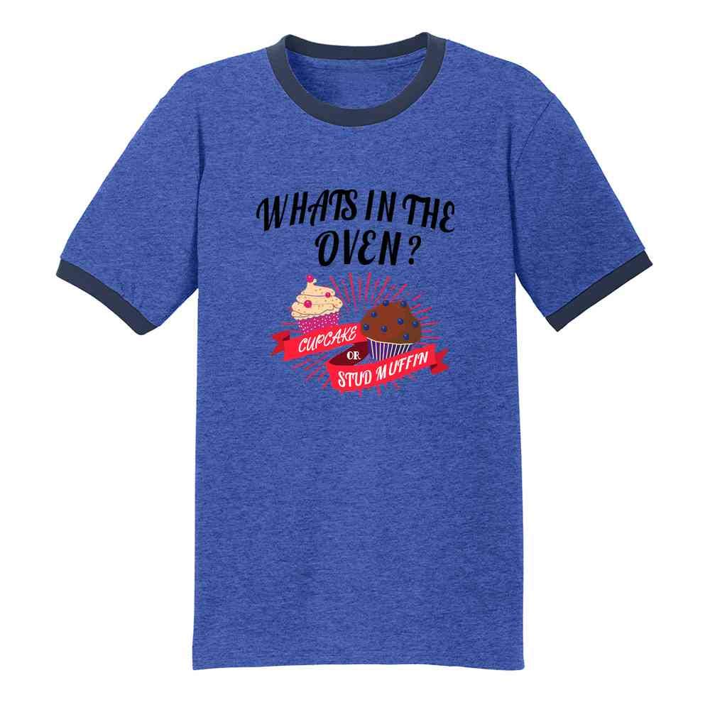 Gender Reveal What's in The Oven? Cute Funny Graphic Tee Ringer T-Shirt