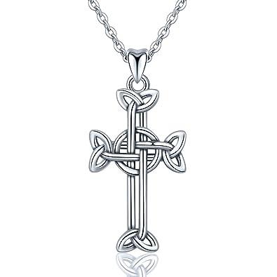 Infuseu Premium Argent sterling S925 Boucles Collier, collier Noeud Celtique  irlandais Nœud Pendentif Croix avec e30d8a78c62