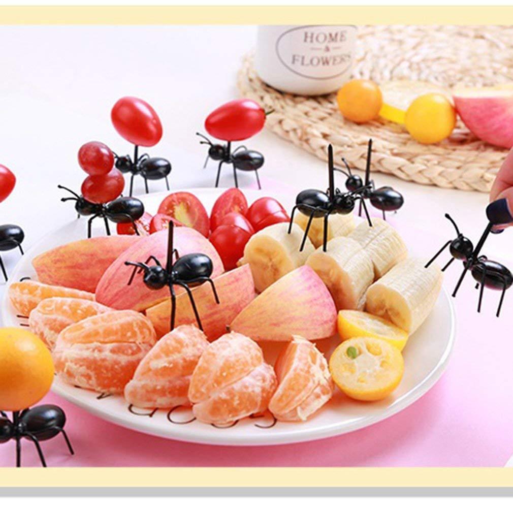 Set Mini Fourmis Cure-Dents Fourmis fourchettes /à Fruits Fourchette /à Dessert fourchettes /à Salade Noir Kitechildhood 12pcs