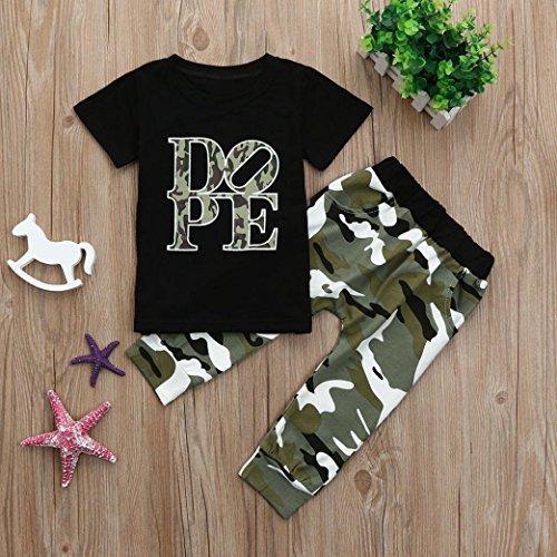 Sagton 2pcs Kids Baby Girls Boys Clothes Set Dope Print Tops T