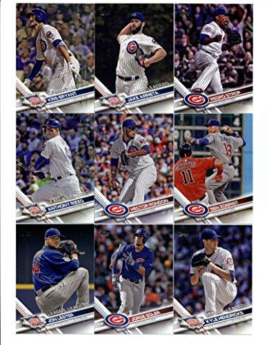 2017 Topps Chicago Cubs Complete Master Team Set of 41 Cards (Series 1, 2, Update): Kris Bryant(#1), Jason Hammel(#2), Jake Arrieta(#18), Aroldis Chapman(#39), Chicago Cubs(#72), Kyle Schwarber(#73), Addison Russell(#78), Kyle Hendricks(#113), Jon Lester(#144), Jon Lester(#162), Jorge Soler(#166), Anthony Rizzo(#204), Chicago Cubs(#206), Jason Heyward(#223), Hector Rondon(#224), Ben Zobrist(#238), Addison Russell(#263), Jake Arrieta(#270), Kris Bryant(#277), Pedro Strop(#303), plus more