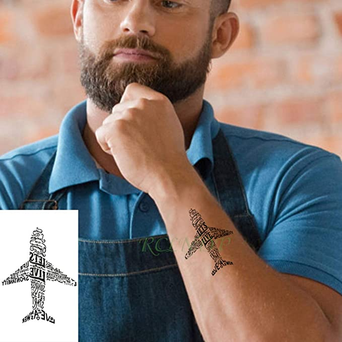 tzxdbh 3pCS-Impermeables Tatuajes temporales de la Letra del ...