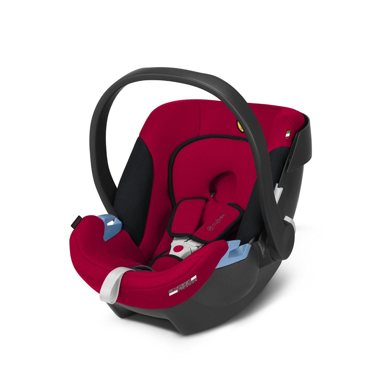 CYBEX Silver Babyschale Aton, Inkl. Neugeboreneneinlage, Ab Geburt bis ca. 18 Monate, Max. 13 kg, Pure Black 513103015