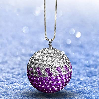 "Happy reunion Crystal Ball Hanging Ornament Charms 1.77"" Car Hanging Decor Ornament Decoration Rearview Mirror Pendant Car Accessories for Car Interior Decoration Car Accessories (White and Purple): Automotive"