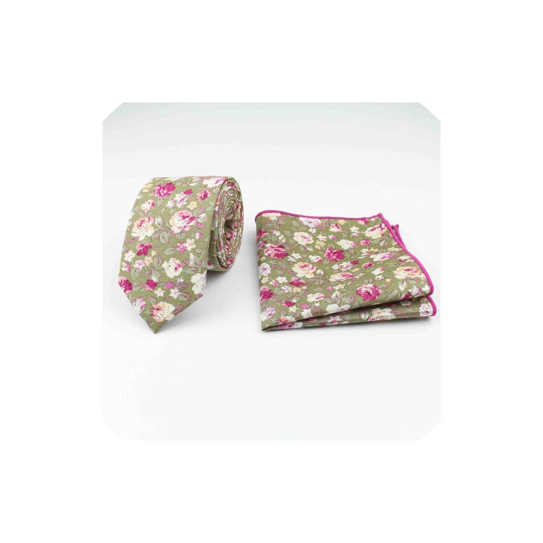100/% Cotton Textile Ties Pocket Square Printing Floral Necktie