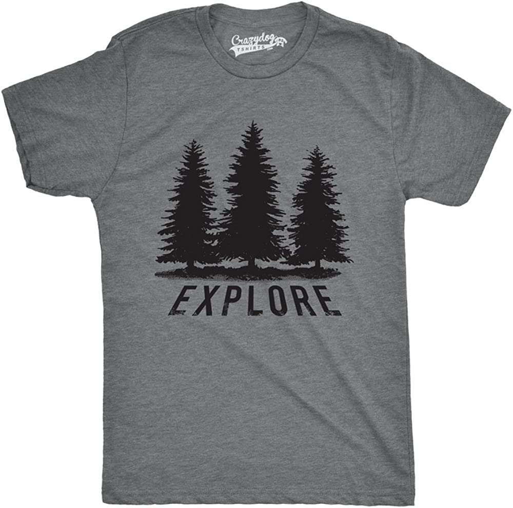 Mens Explore Pine Trees Outdoor Adventure Cool T Shirt