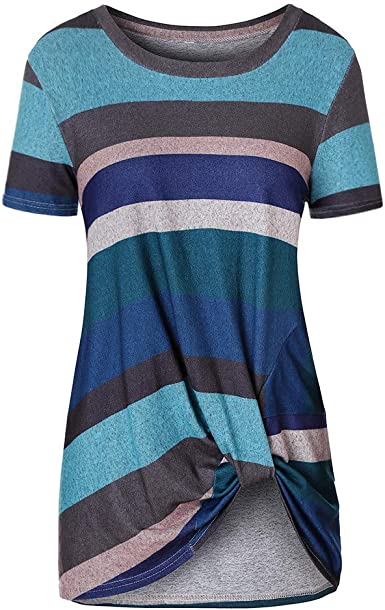 Lavany Tunic Blouse for Women,Stripe O Neck Knot Front Sleeveless Casual Top Shirt