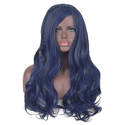 Lado Largo Ondulado descendientes Evie trenzado de Bang sintético cosplay peluca