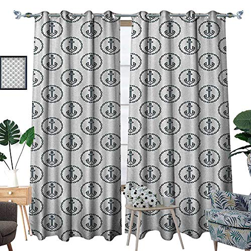 (Warm Family Anchor Thermal Insulating Blackout Curtain Vintage Dark Blue Ship Anchors Framed by Round Chain Borders Marine Design Patterned Drape for Glass Door W84 x L96 Dark Blue White)