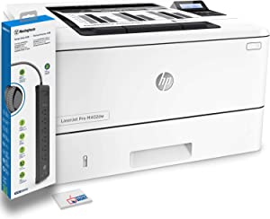 HP Laserjet Pro M402dw Monochrome Laser Printer (C5F95A) with Power Strip Surge Protector and Electronics Basket Microfiber Cleaning Cloth