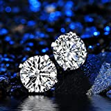Sterling Silver Studs Earrings Round Cut Cubic Zirconia NOT STAINLESS STEEL 4mm 5mm 6mm Sizes Platinum-Plated Stud 3 Sets for Women & Mens Ear Piercing