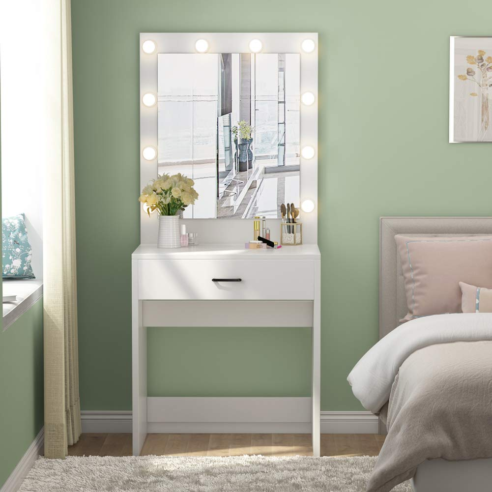 White Make-Up Table With Mirror Vanity 10Led Lighted