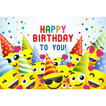 Yeele 8x6ft Happy Birthday Photography Background Colorful Cap Cute Face Red Heart Confetti Baby Children Kid Celebration Party Decoration Artistic ...