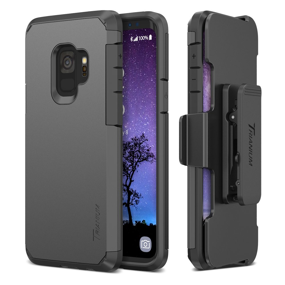 Trianium Duranium Galaxy S9 Holster Case with Rotating Belt Clip + Kickstand [Heavy Duty Protection] Premium Scratch Resistant/Shock Absorption Cushion Covers for Samsung Galaxy S9 (2018)- Gunmetal