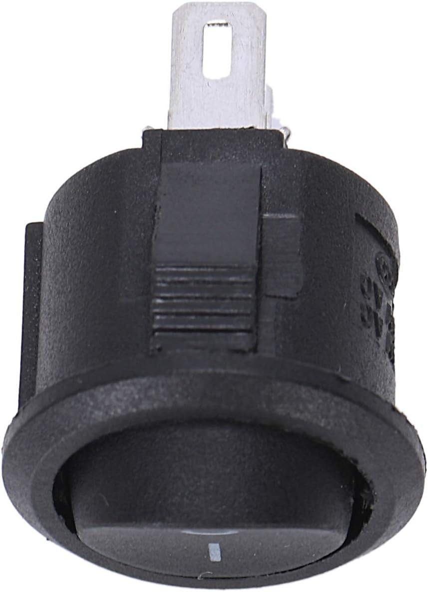 Negro Tashido 5 x Interruptor Basculante Redondo On//Off SPST CA 6A//125V 3A//250V