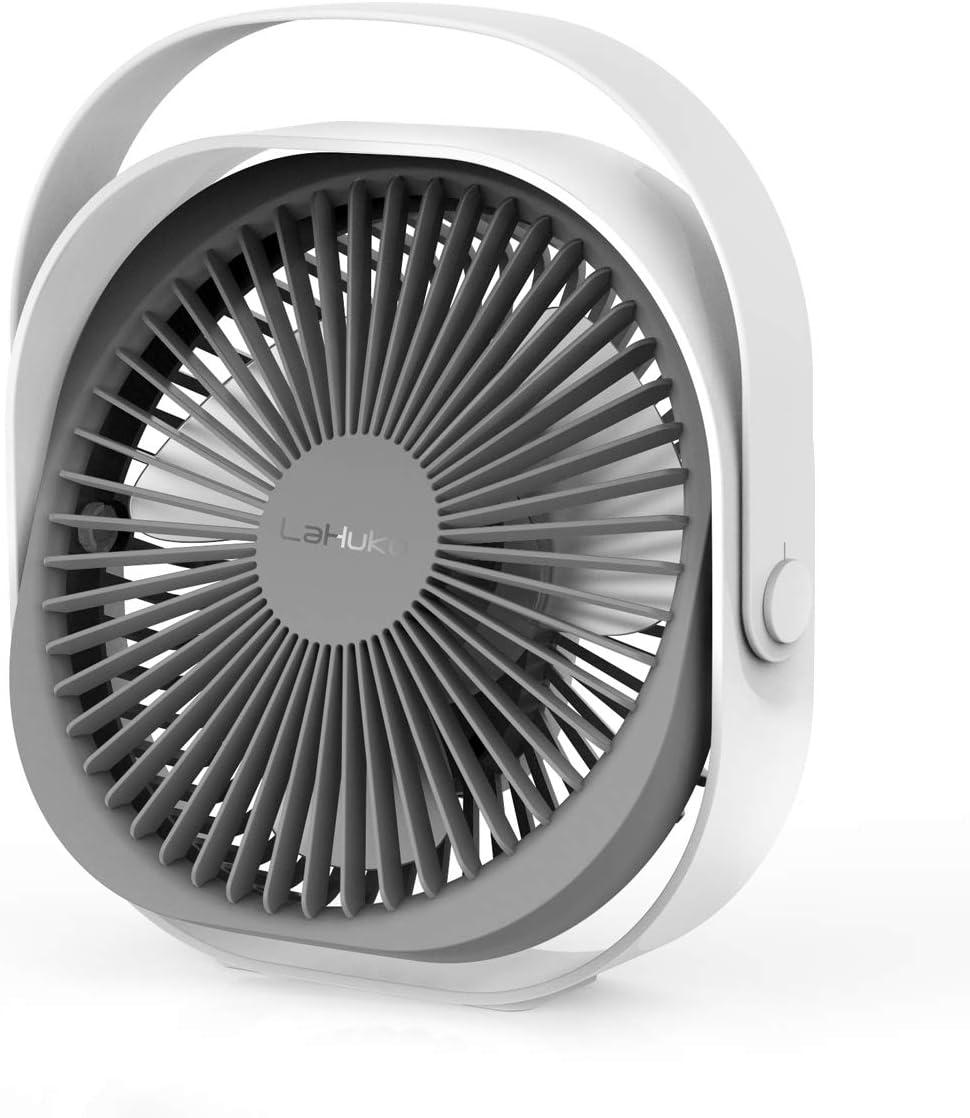 LaHuKo Ventilador USB Silencioso Ventiladores de Sobremesa Personal y Portátil Rotación Libre de 360 ° con 3 Velocidades Aire Frio para Oficina Hogar Coche (Blanco)