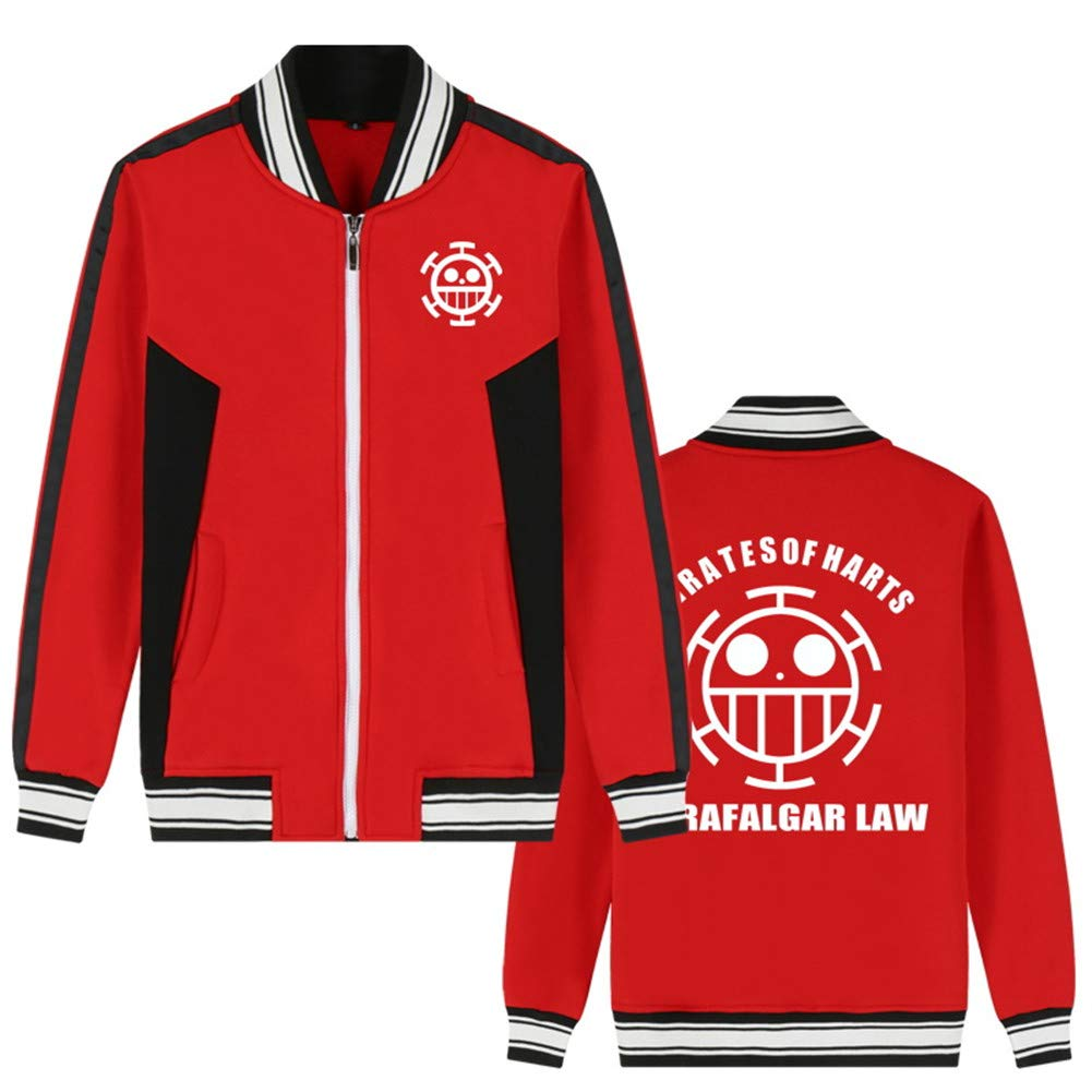 Gumstyle Anime One Piece Baseball Uniform Unisex Cosplay Zip Jacket Sport Coat