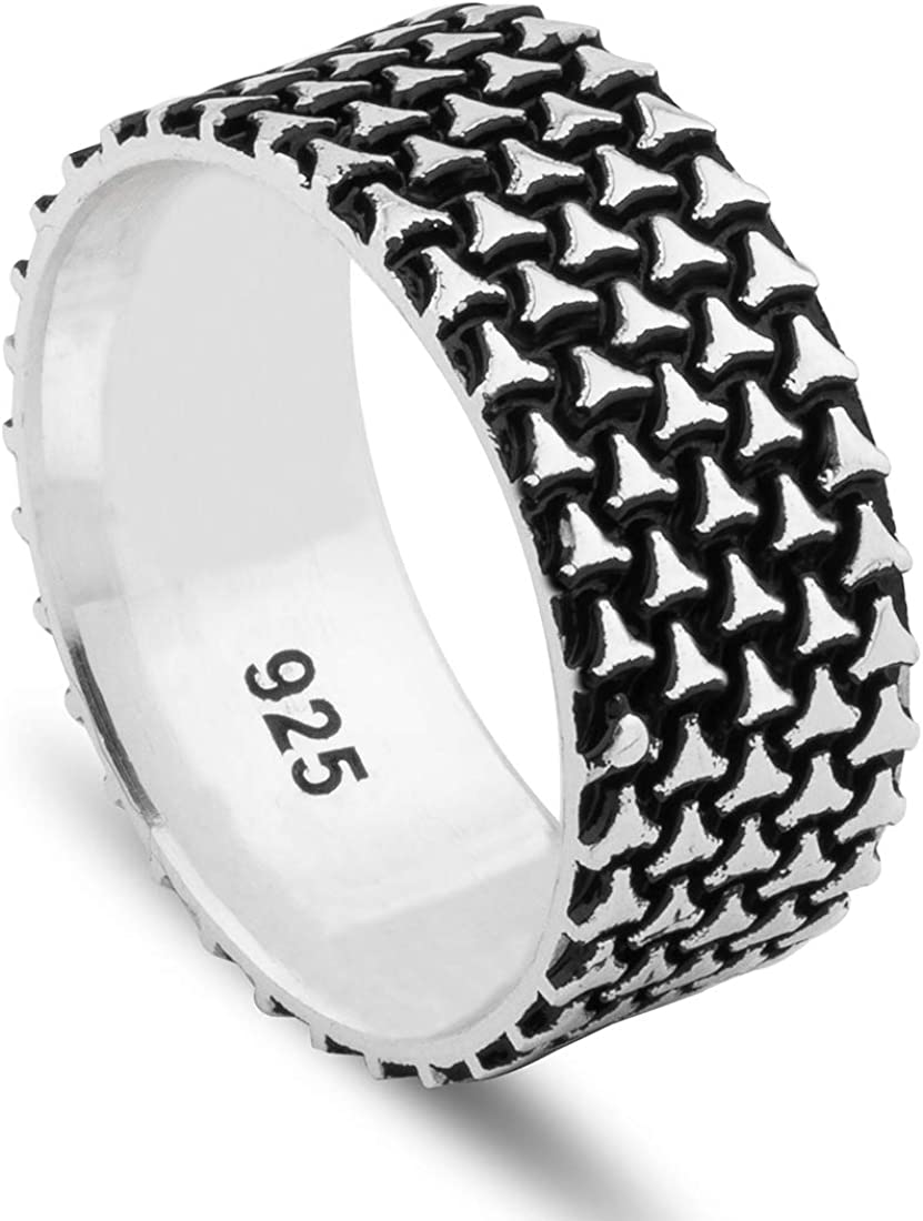 Chicotta Men's Rugged Design Oxidized 925 R Max 60% OFF Sterling Silver Band Time sale