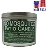 NO MOSQUITOZ | 16oz. Outdoor Patio Wood Wick Tin Candle | 60-Hour Burn | Ambient Glow | Hand-Crafted Fresh Fragrance (Tin, 16
