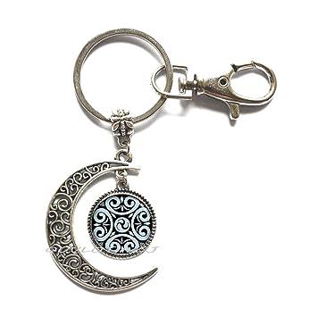 Celtic Triskelion Moon Llavero, joyería celta, joyería de ...