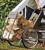 Heavy-Duty Steel Wood Caddy with Large Rubber Wheels