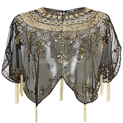 (BABEYOND Sequin Beaded Evening Cape 1920s Fringed Shawl Wraps Wedding Bridal Shawl Scarf (Black Gold))