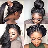 Fushen Hair Lace Front Human Hair Wigs Virgin Brizilian Full Lace Wigs Long Straight Human Hair Lace Front Wigs for Black Women (12 inch with 150% density, 13x6 Lace Front Wig)